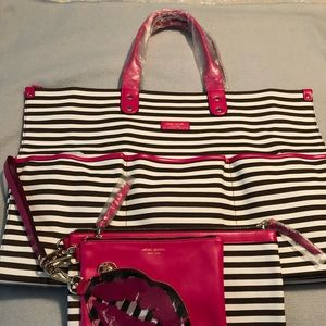 Henri Bendel Striped Tote with matching Trio